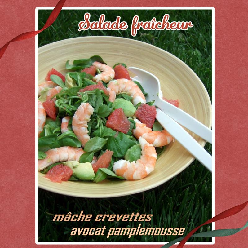 Salade fraîcheur mâche crevettes pamplemousse avocat (SCRAP)