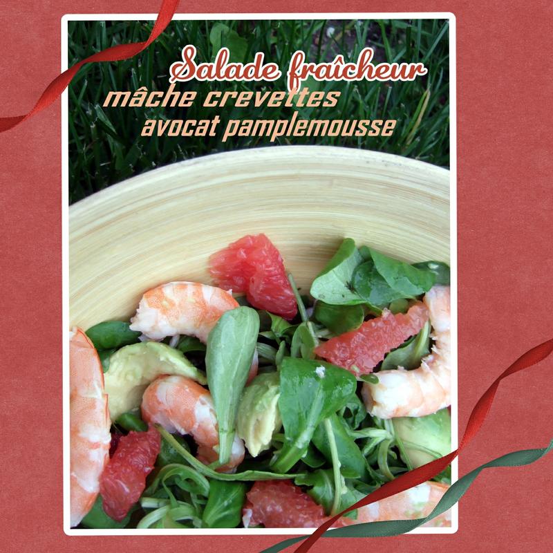 Salade fraîcheur mâche crevettes pamplemousse avocat (SCRAP2)