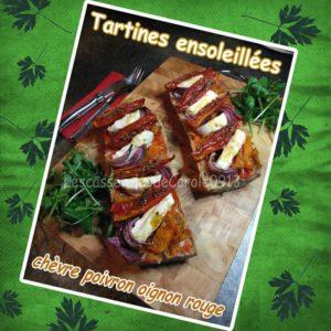 Tartines ensoleillées chèvre poivron oignon rouge