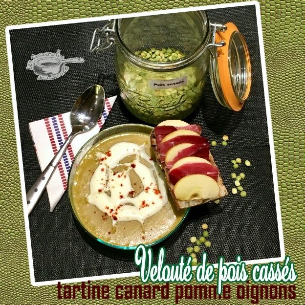 velouté de pois cassés tartine canard pomme oignons (SCRAP)