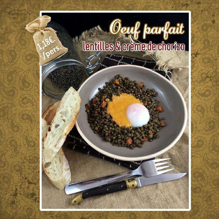 oeuf parfait lentilles et crème de chorizo (scrap)