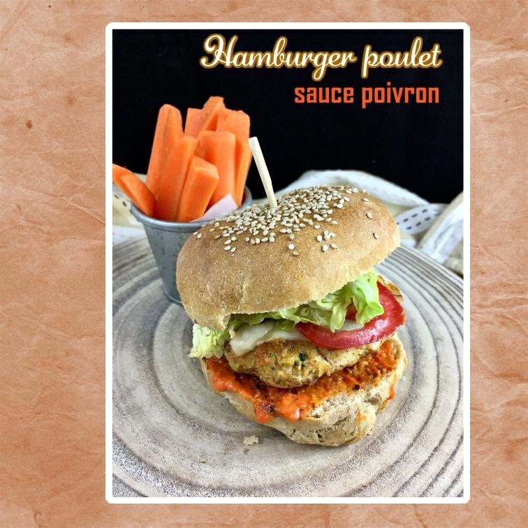 Hamburger de poulet sce poivron tomme de brebis