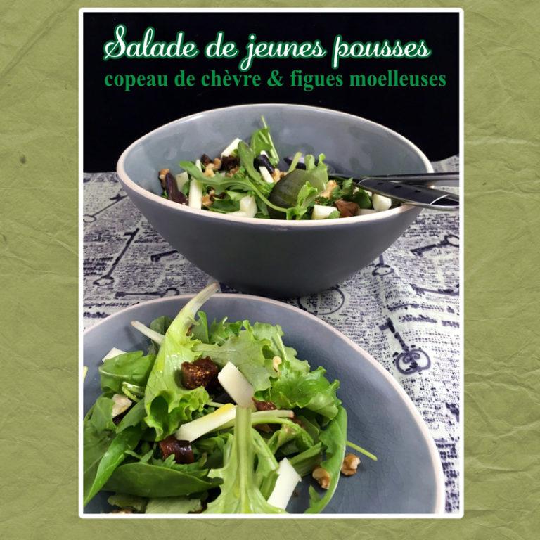 salade jeunes pousses figues chèvre