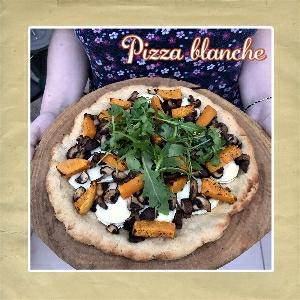 pizza bianca chèvre champignons courge