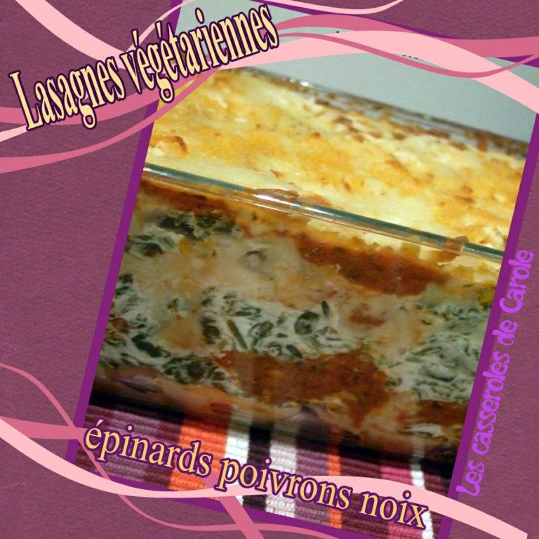 lasagnes vegetariennes épinard poivrons noix