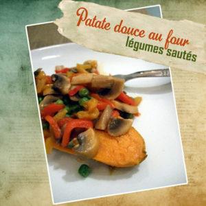 patate douce au four légumes sautés