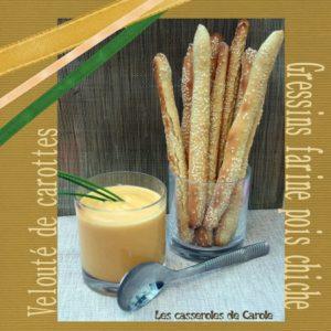 veloute carottes gressins farine pois chiche