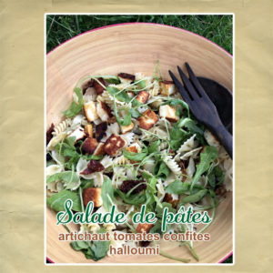 salade de pate halloumi artichaut tomate confite