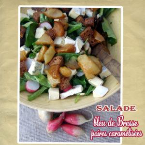 salade bleu de bresse poires caramélisées