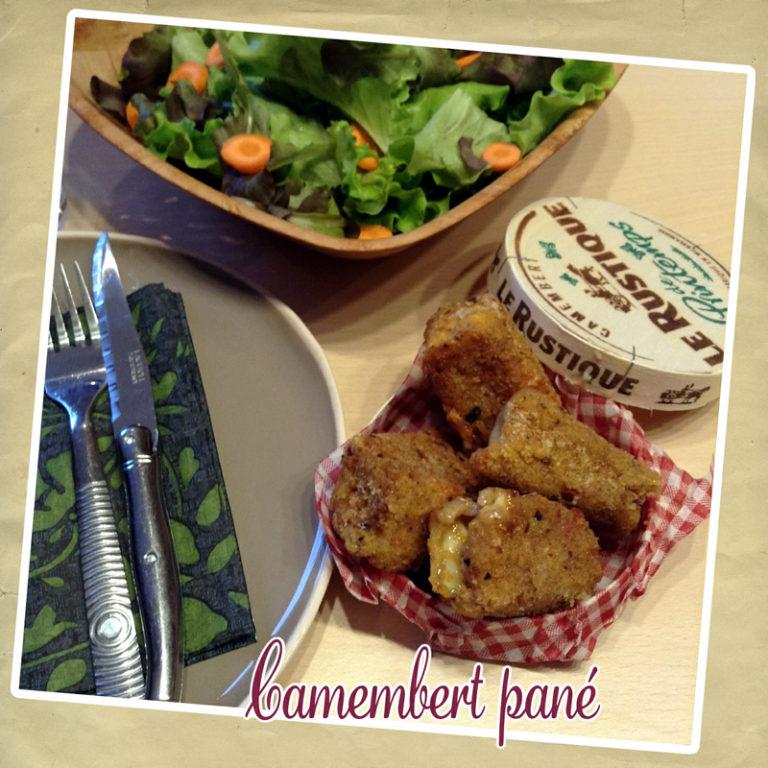 Camembert pané et sa salade
