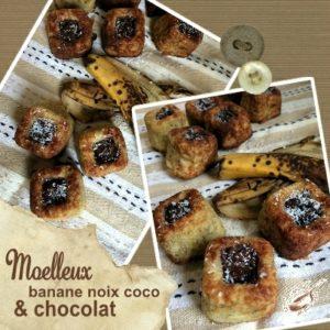 Moelleux banane noix coco chocolat