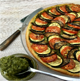 tarte aux légumes et pesto