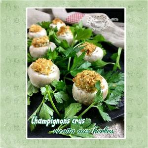 Champignons crus ricotta herbes