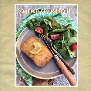 saumon croustillant salade d'épinard
