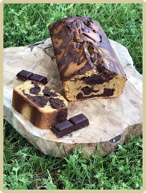 cake marbré vanille et chocolat pas cacao
